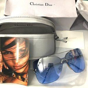 Dior NIB Motard Frameless Blue Sunglasses w/ Pouch